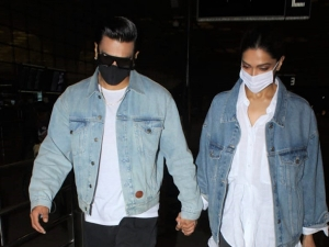 Deepika Padukone And Ranveer Singh In Matching Outfits At The Airport