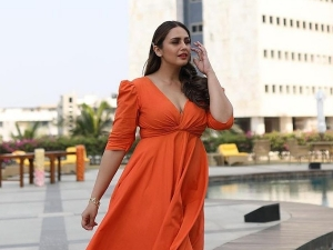 Huma Qureshi In An Orange Dress For Maharani Promotions