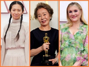 Emerald Fennell Chlo Zhao And Youn Yuh Jung S Outfits At Oscars