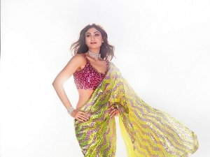 Shilpa Shetty Sparkles Like A Diamond In Her Pink And Green Sequin Saree And Raises Glam Quotient
