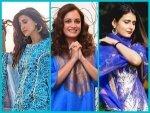 Aahana Kumra Dia Mirza Fatima Sana Shaikh Blue Kurta Set For Eid Ul Fitr