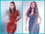 Malaika Arora Sparkles In A Blue Shimmering Saree And Red Sequin Dress