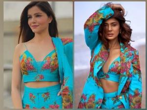 Jennifer Winget And Rubina Dilaik S Pictures In Same Floral Printed Blue Pantsuit