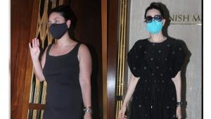Kareena Kapoor Khan And Karisma Kapoor Spotted In Black Dresses At Manish Malhotra S Home