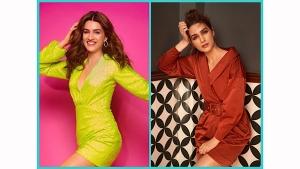 Kriti Sanon Lime Green Dress And Brown Jacket Dress On Instagram