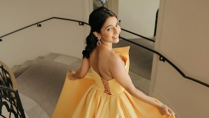 Indian Blogger Masoom Minawala In Her Orange Gown At The Cannes Film Festival