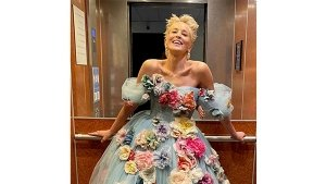 Sharon Stone In A Blue Floral Dolce And Gabbana Gown At The Cannes Film Festival