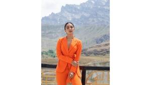Kiara Advani In An Orange Pantsuit For Shershaah Promotions