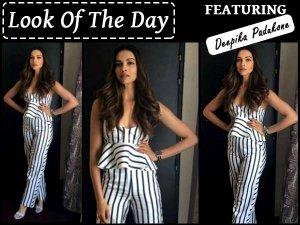 Deepika Padukone Is Striped Jumpsuit