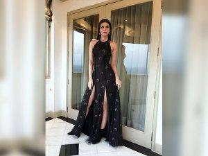 Kriti In A Black Sunaina Khera Dress