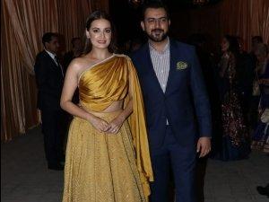 Dia Mirza Looks Drop-dead Gorgeous In Her Golden Attire At Isha Ambani's Reception