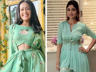 Shilpa Shetty Kundra And Neha Kakkar In Green Sharara Suit Boldsky Com