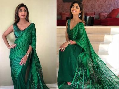 Shilpa Shetty Stuns In A Green Sari