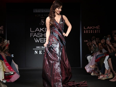 Neha Sharma In A Wine Gown At LFW 2018