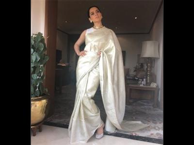 Kangana Ranaut's Ivory Sari