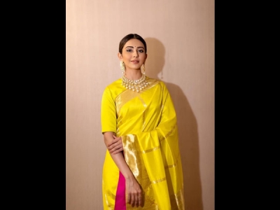 Rakulpreet's Yellow Silk Sari