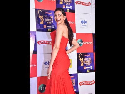 Deepika Padukone In A Lava Red Gown